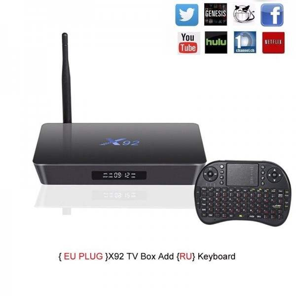 X92 Smart Android TV box 2GB/3GB RAM 16GB/32GB ROM Amlogic S912 Android 6.0 Octa-core 2.4GHz/5.8GHz WiFi BT 4.0 HDMI 2.0a
