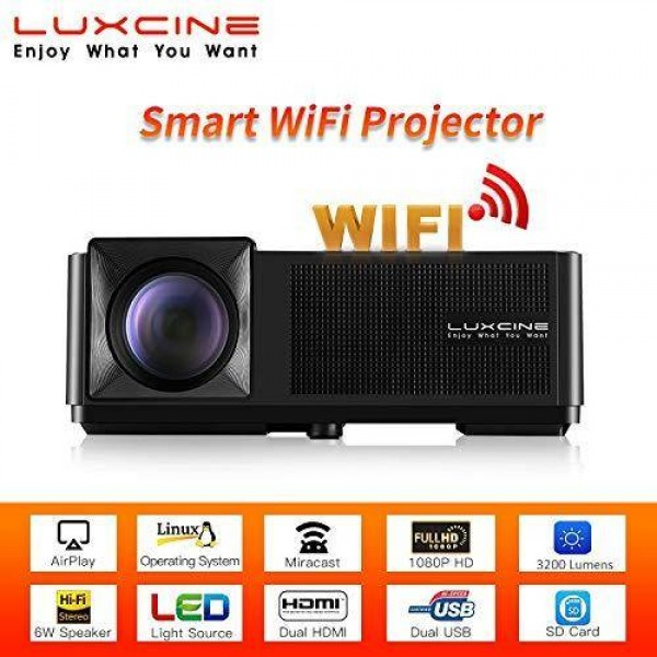 Luxcine CM2 Smart WiFi Full HD 1080P 3200 Lumens LED Home Cinema Projector