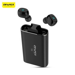 Awei T85 TWS Twins True Wireless Bluetooth V5.0 Earbuds IPX4 Waterproof Fingerprint Control With Charging Base