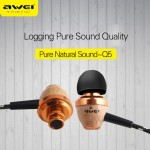 AWEI ES Q5 In-Ear Earphone Noise Isolation Super Deep In-ear Earphone 3.5mm Jack Headset for Phone MP3/MP4 Players