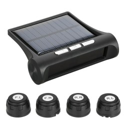 Wireless Solar Powered Car Tire Pressure Monitoring System with 4 External Sensors Bar/PSI Unit