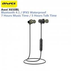 Awei X650BL Bluetooth Wireless Sports Earphones IPX5 Waterproof Dual Drivers With Mic Super Bass Earbuds For IPhone