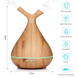 Ultrasonic Humidifier Aroma Essential Oil Diffuser With Wood Grain Timer Colorful Light Essential Oil For Office Home