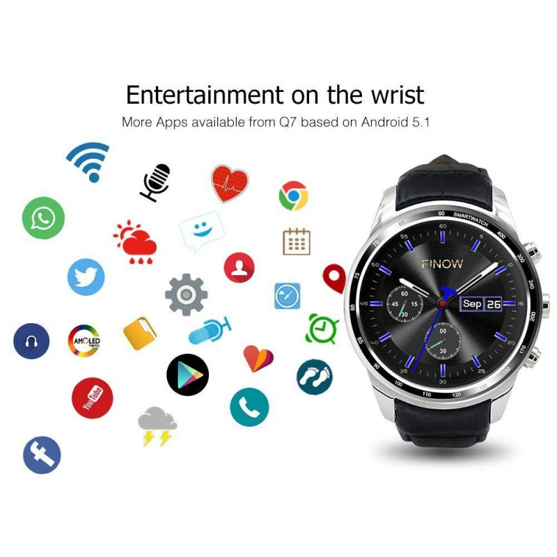 Finow Q7 plus Android 5 1 with 0 3MP MTK6580 Ram512MB Rom8GB support 3G  Smart Watch