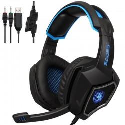 SADES R9 LED Light PC Gaming Headphones 3.5mm USB Wired Over Ear Game Headset with Mic for Computer PS4 New XBOX ONE Gamer